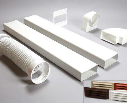 Műanyag alkatrészek a légcsatorna szerkezetéhez
