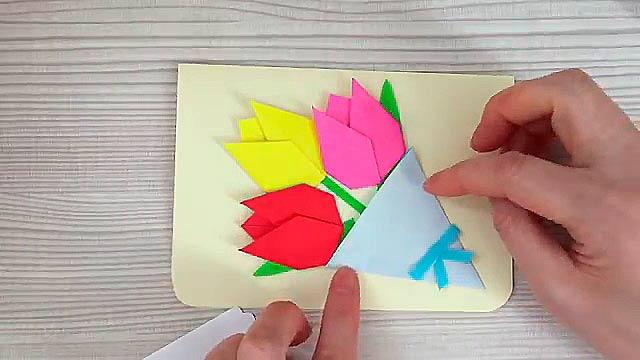 Как сделать открытку из оригами на день рождение бабушке, как