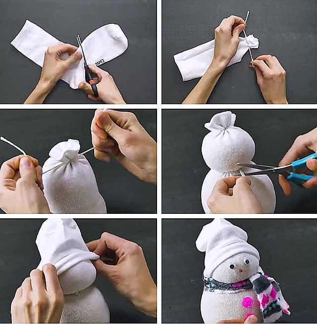как сделать из носка снеговика фото