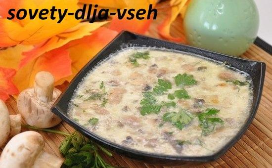 Классический сырный суп с грибами