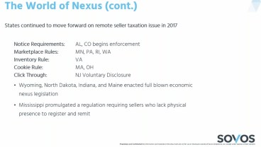 Remote seller nexus - Sovos slide