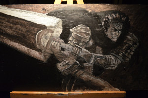 Guts' Windup with a layer of acrylic