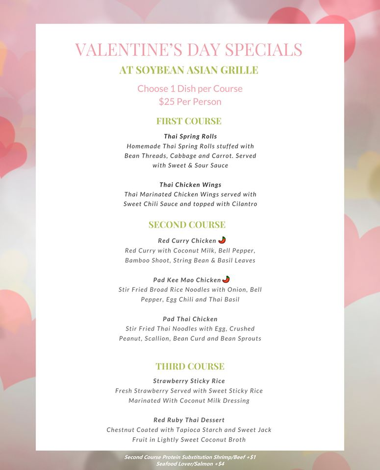 3 course dinner at soybean asian grille for valentines day 2020