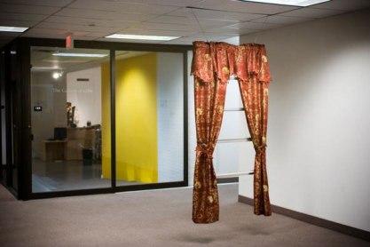 gold silkscreen on curtains