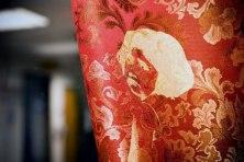 gold silkscreen on curtains (detail)