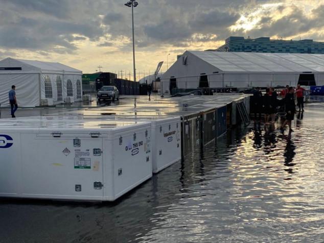 Sochi: a poche ore dall'inizio dell'armamentario del Grande Circo, parte del percorso russo è allagato da piogge torrenziali...