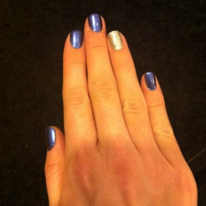 Kiko Infinite Indigo & China Glaze Silver lining swatch