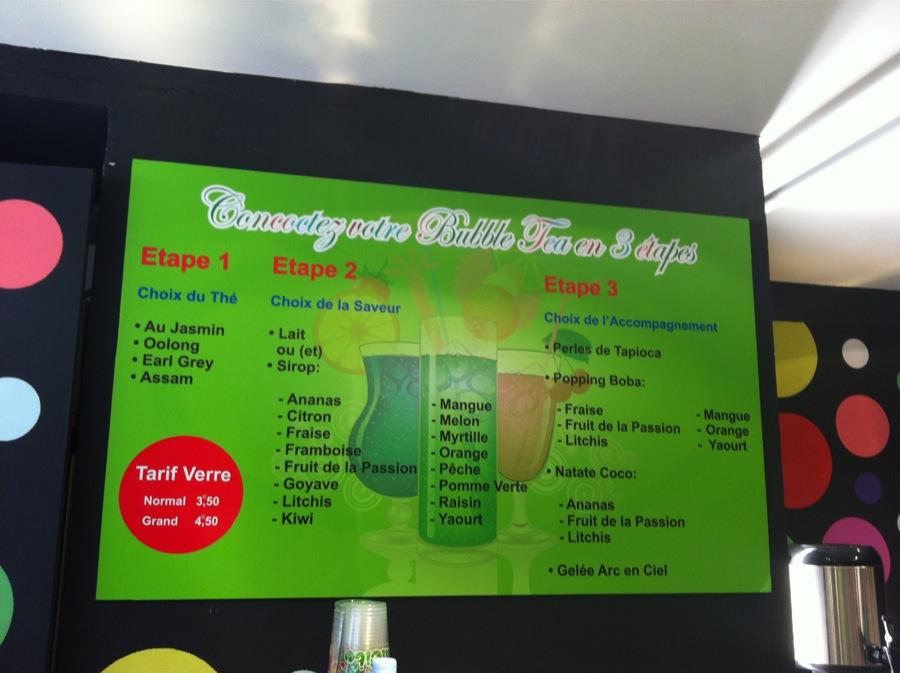 Carte tarifs Bubble Tea Bubbleteacup