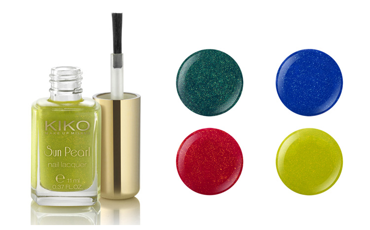 Kiko Sun Pearl Lacquer 430 Chili Pepper 429 Blue Spot 428 River Green 427 Amable Chartreuse