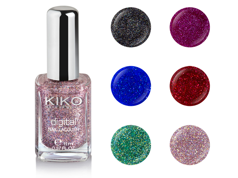 Kiko Digital Noel 2013 vernis collection avis swatch - 438 Fascinating Burgundy - 439 Cyber Red - 437 Intuitive Pink - 442 Techno Black - 440 Electron Blue - 441 Illusion Green