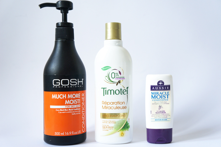 Routine cheveux longs Après shampoing Gosh Much more moist - Timotei réparation miraculeuse - Aussie Miracle Moist test avis