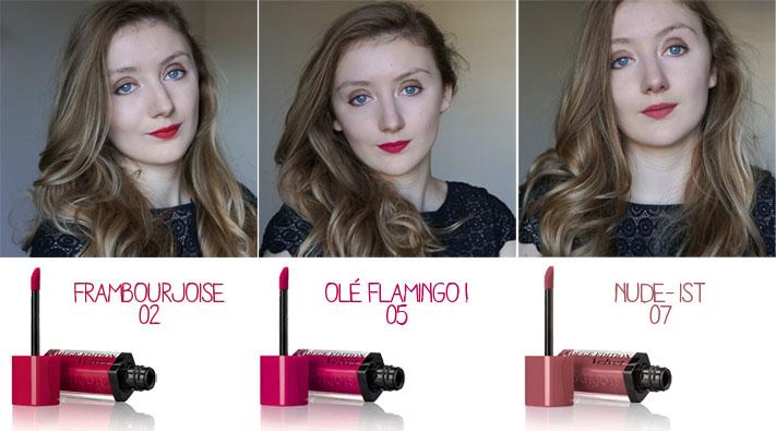 Bourjois Rouge Edition Velvet test avis swatch - Nude Ist 07 - Olé Flamingo 05 - Frambourjoise 02