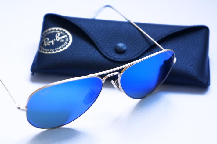 Ray Ban Blue Mirror Aviator Lunettes soleil verres miroir