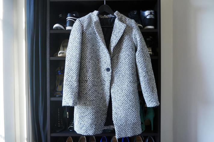 Manteau She Inside SheInside - Black & White Long Sleeve Oversize Houndstooth Coat