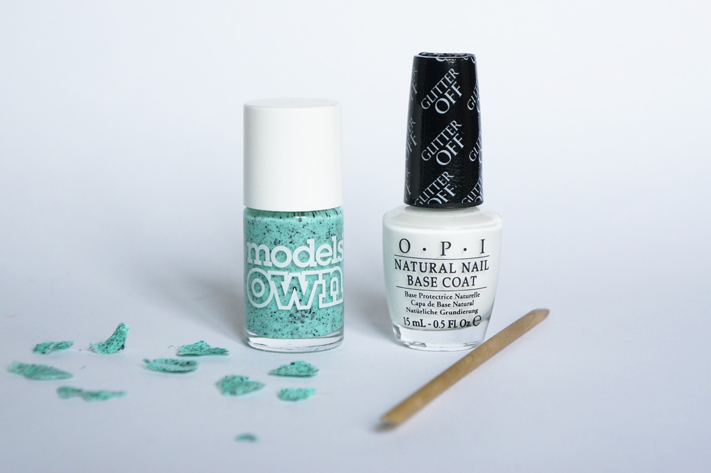 Glitter Off Base OPI Peel off vernis paillettes test avis review - Magpie Models Own Speckled Eggs swatch
