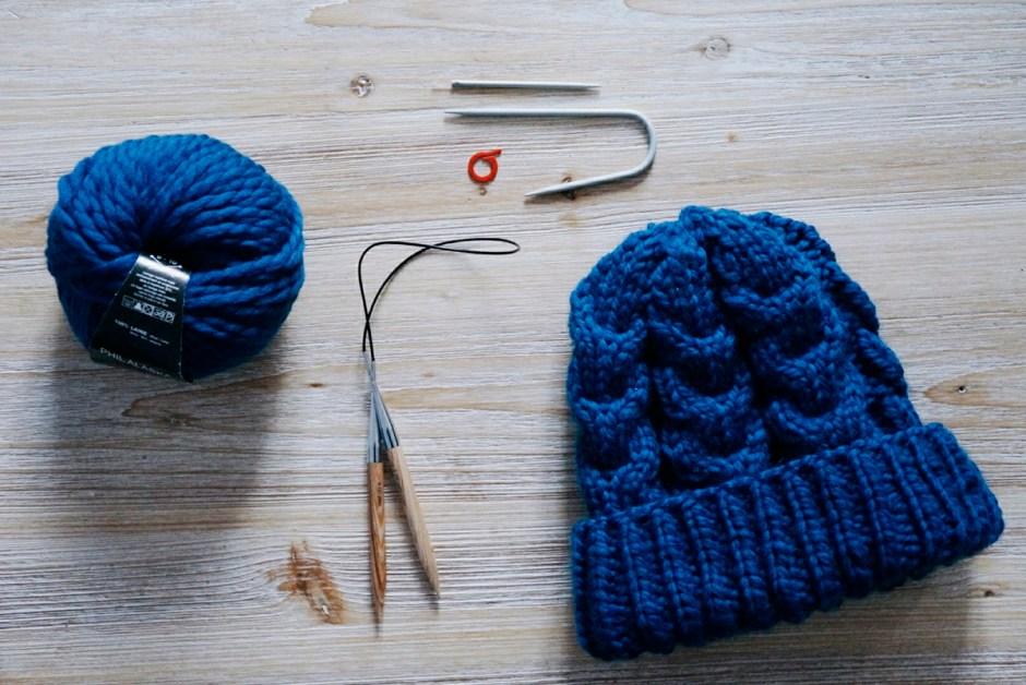 bonnet tricot laine hiver torsades tuto patron aiguilles circulaires matériel