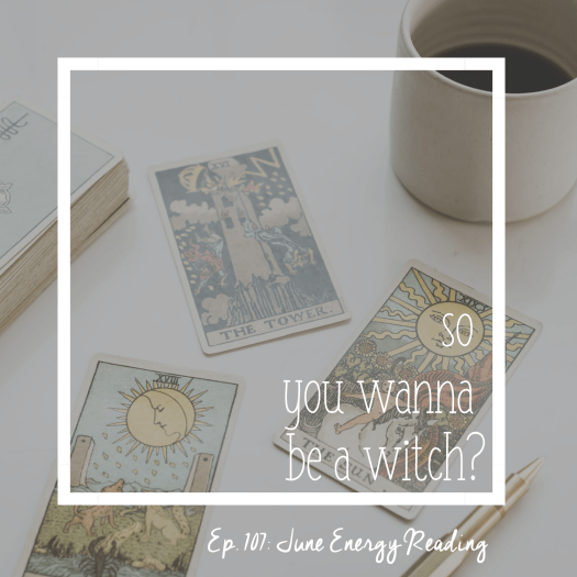 Episode 107 June Energy Reading. 3 tarot cards next to a deck and a cup of black coffee. tarot for business. soul centered business