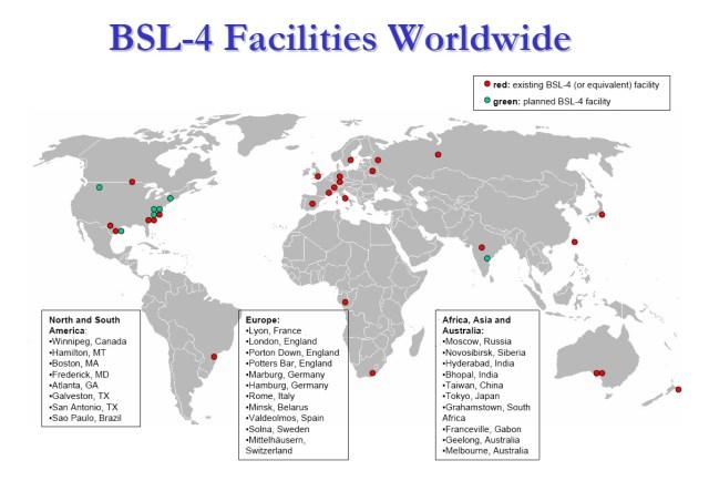 Mapa de los laboratorios de bioseguridad BSL-4 que hay en el mundo