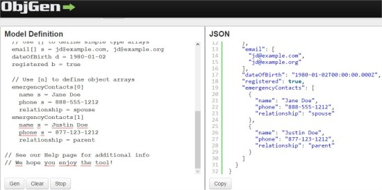 ObjGen - Live JSON Generator - Opera
