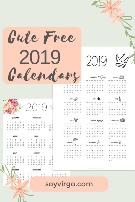CUTE FREE 2019 CALENDARS