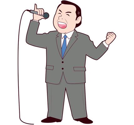 カラオケで歌う男性社長