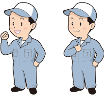 作業服を着た男性(4ポーズ)のイラスト