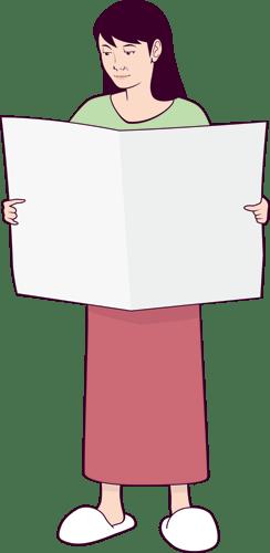 家事の合間に新聞を読んでいる主婦のイラスト