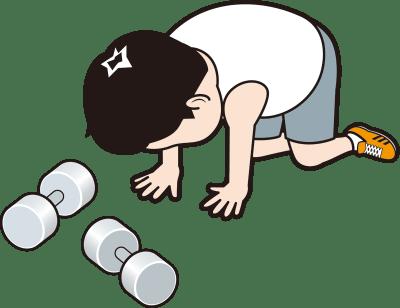 筋トレで挫折する男性のイラスト