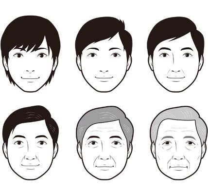 年代順の男性の顔イラスト