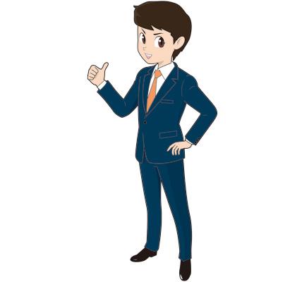 サムアップする若い男性ビジネスマンのイラスト