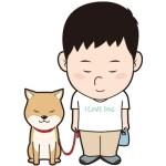 お辞儀する男性と犬のイラスト