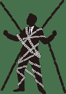鎖に縛られた会社員のシルエットイラスト