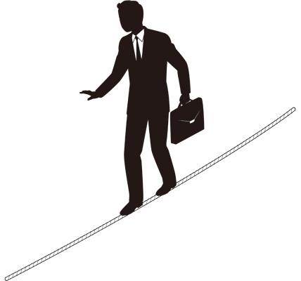 Tightrope Businessmanのシルエットイラスト