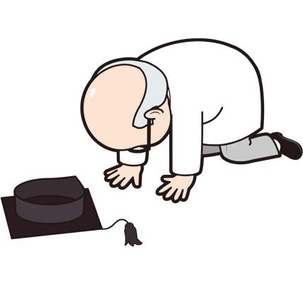 挫折する博士のイラスト