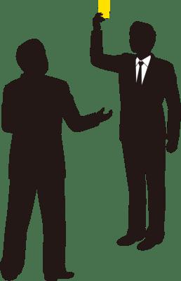 イエローカードを提示する男性会社員のシルエットイラスト