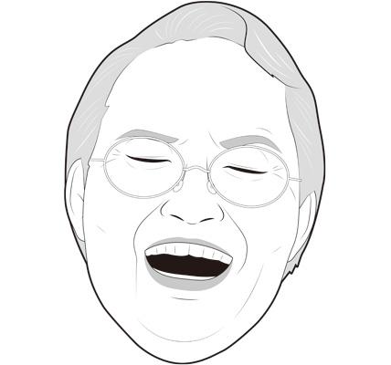 笑顔のシニア女性の顔イラスト