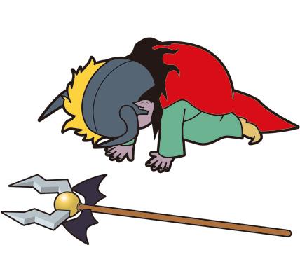 世界征服に挫折する魔王のイラスト