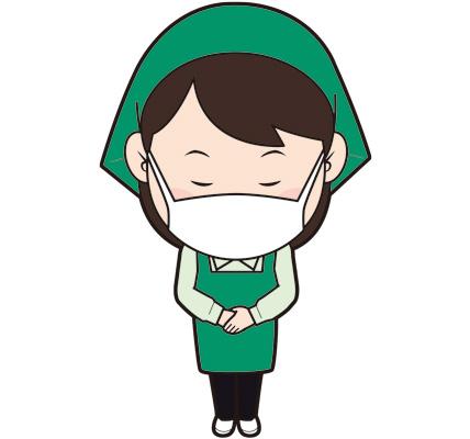 お辞儀するマスクをした女性スーパー店員