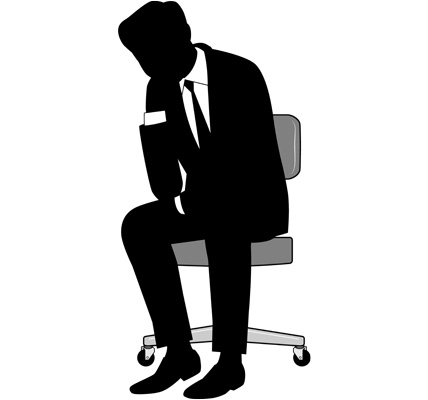 考える男性ビジネスマンのシルエットイラスト