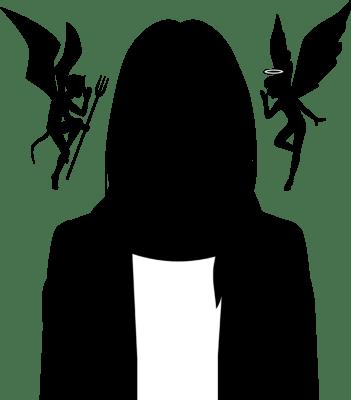 天使と悪魔に誘惑されている女性のシルエットイラスト