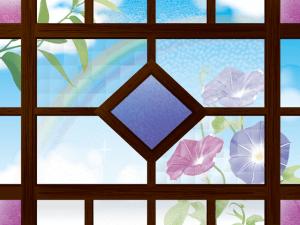 レトロな窓枠と朝顔