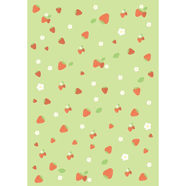 背景画像 グリーンのイチゴ柄(カラー)