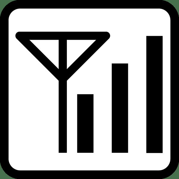 ビジネス 電波アイコン(四角)(モノクロ)