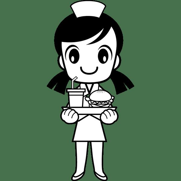 人物 ファストフード店員(ハンバーガーショップ)(モノクロ)