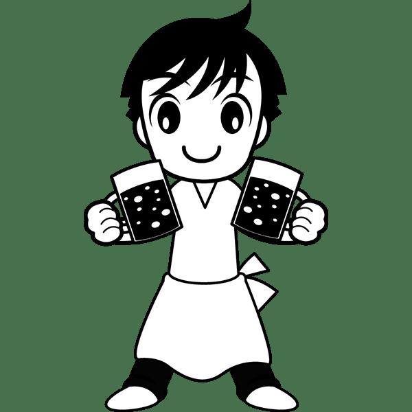 人物 居酒屋店員(モノクロ)