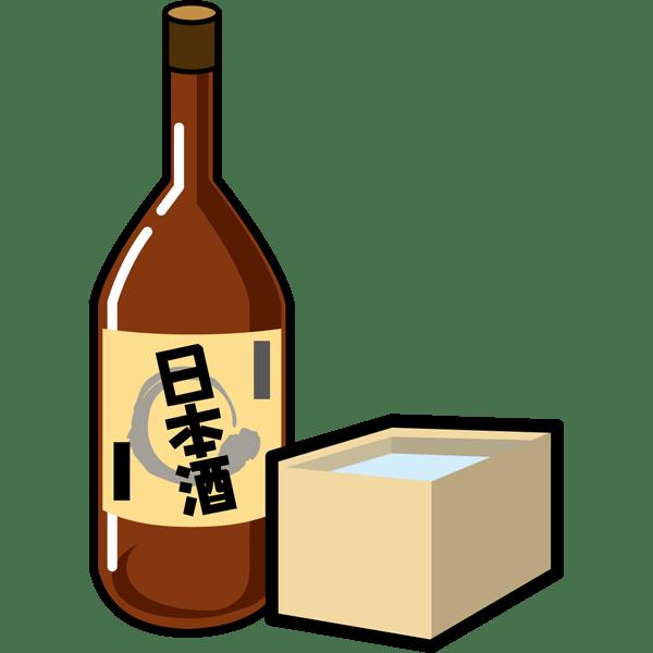 食品 お酒(日本酒と枡)(カラー)