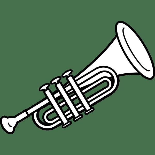 音楽 トランペット(モノクロ)
