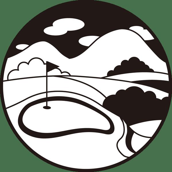 ゴルフ ゴルフ場(グリーン)(モノクロ)
