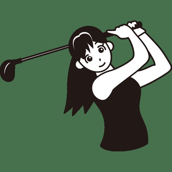 ゴルフ ドライバーショット(ゴルフスイング)(モノクロ)