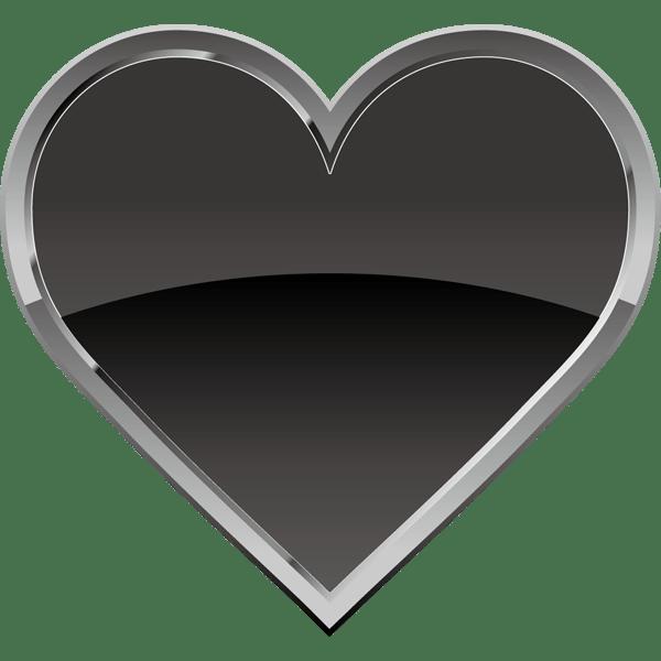 装飾 ハート(黒いハートマーク)(カラー)